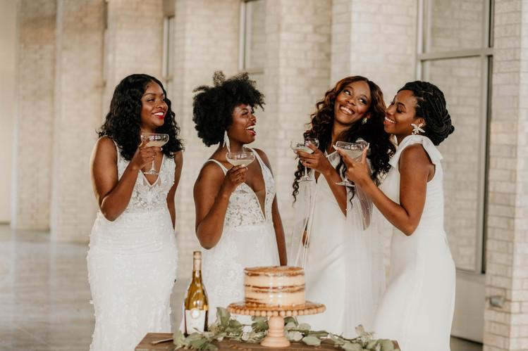 Brides having fun