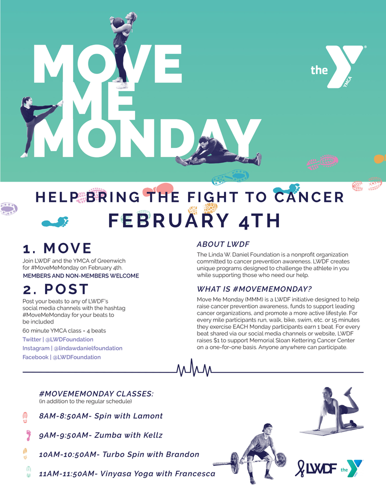 Move Me Monday at the Greenwich YMCA February 4th!