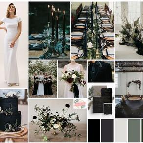 Fall 2019 Wedding Details: Moody Black Style Board