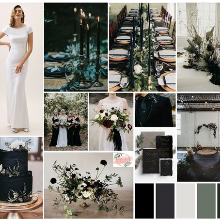 Fall 2019 Wedding Details: Moody Black Style Board