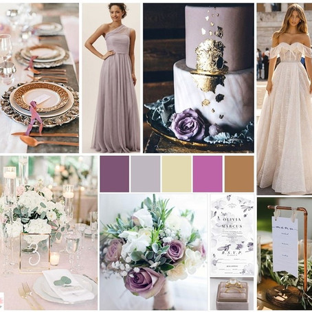 Spring 2020 Wedding Details: Purple & Gold Style Board