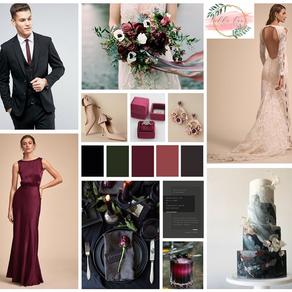 Fall 2019 Wedding Details: Black Cherry Style Board