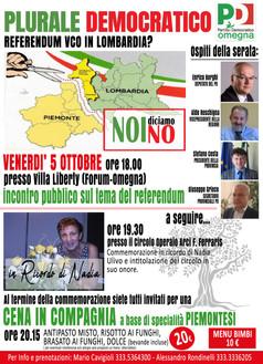 Venerdì 5 ottobre: evento democratico ad Omegna