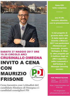 Sabato 27: invito a Cena con Maurizio Frisone