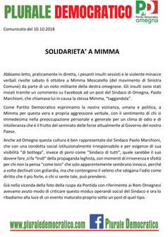 Solidarietà a Mimma: no alla politica dell'odio e dell'ignoranza