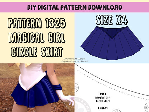 DIY- Magical Girl Circle Skirt Pattern (Size X4)