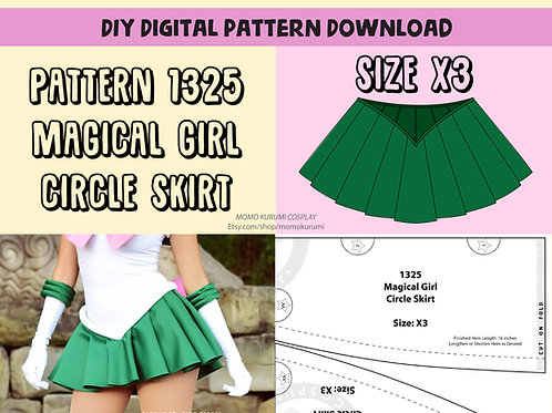 DIY- Magical Girl Circle Skirt Pattern (Size X3)