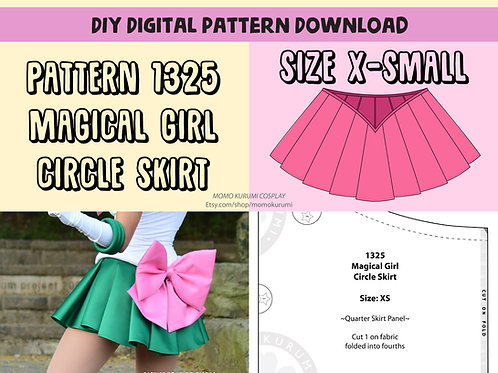 DIY- Magical Girl Circle Skirt Pattern (Size X-Small)