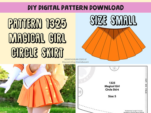 DIY- Magical Girl Circle Skirt Pattern (Size Small)