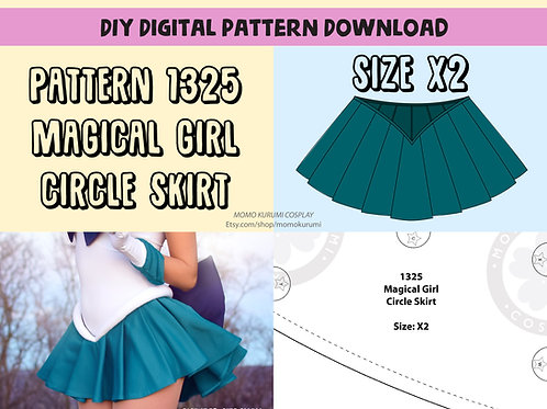DIY- Magical Girl Circle Skirt Pattern (Size X2)