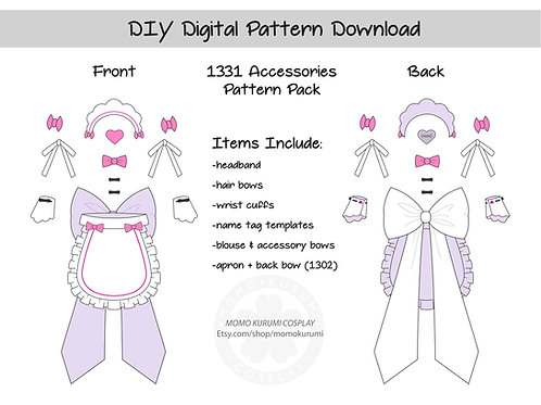 DIY- Maid Accessories Pattern (Size Small)