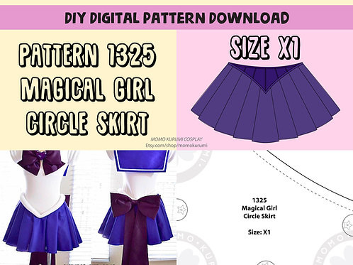 DIY- Magical Girl Circle Skirt Pattern (Size X1)