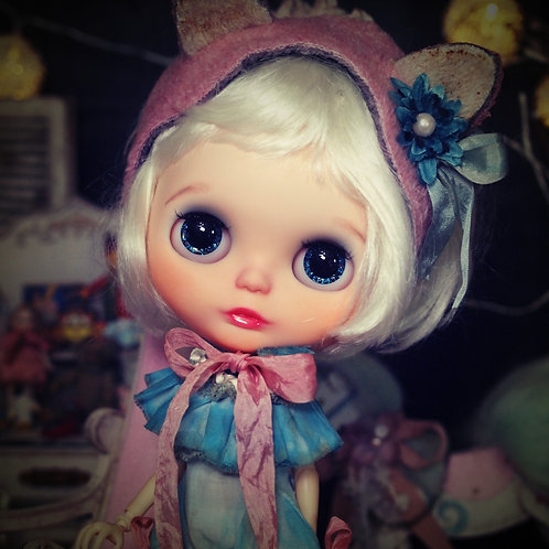 Blythe outfit *アンティーク染め 猫耳ロンパースセット