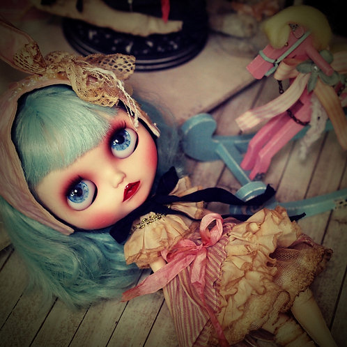 Blythe outfit *アンティーク染め うさ耳ワンピースセット