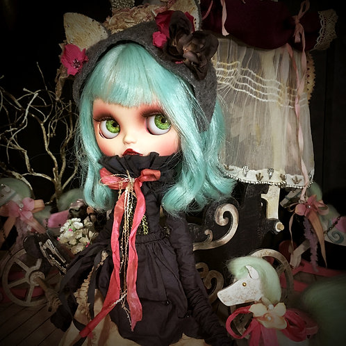 Blythe outfit *アンティーク染め 猫耳くしゅくしゅワンピースセット