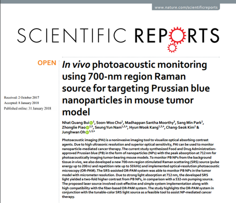 In vivo photoacoustic monitoring using 700-nm region Raman source for targeting Prussian blue nanopa