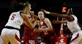 Denver Pioneers Claire Gritt (12) and Samantha Romanowski (22) guards the ball against Nebraska Huskers Nicea Eliely (5) and Sam Haiby (4) at Saturday night's NCAA women's basketball game at the Pinnacle Bank Arena in Lincoln, Neb. on Dec. 15, 2018. Nebraska lead the night scoring an average of 24 each quarter with Denver only averging at 17. The game concluded with Nebraska winning 96-71 making this their third win since their loss to Creighton.