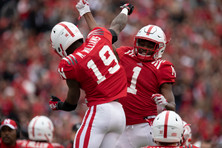 "Mike Williams (19) celebrates with Tyjon Lindsey (1) after scoring a touchdown at the Huskers' annual Spring Game in Memorial Stadium on Saturday, Apr. 21, 2018 in Lincoln, Neb. The Husker Spring Game is held as a glorified practice for its players in a Red versus White setup. This year the game was attended by a record breaking crowd of 86,818 people. Excitement has been built up with the arrival of the Huskers' new coach, Scott Frost, a Husker alumni quarterback. ""I thought it was a unique experience,"" said Williams, ""The fans are one of a kind."""