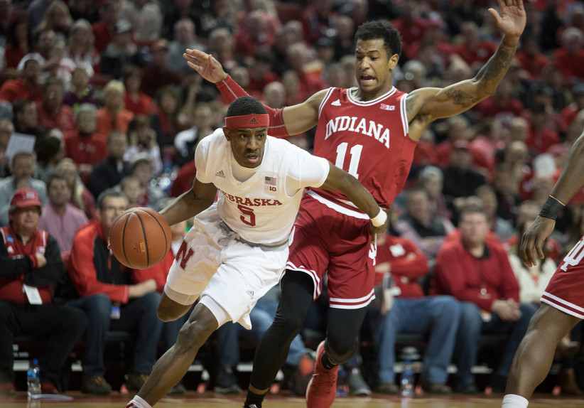 Nebraska Cornhuskers' Glynn Watson Jr. (5) drives past Indiana Hoosiers' Devonte Green (11) during the first half at Tuesday night's NCAA basketball game at the Pinnacle Bank Arena in Lincoln, Nebraska.