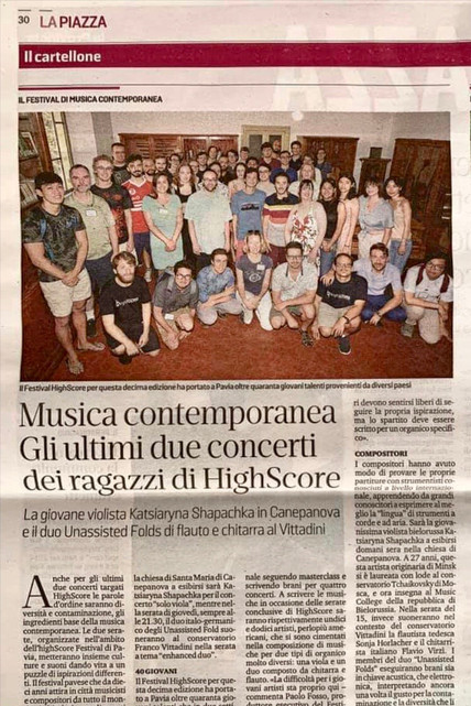 highSCORE New Music Festival composers in Pavia newspaper