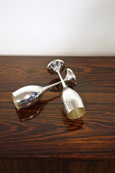 Set de 6 flûtes à champagne en métal argenté vintage