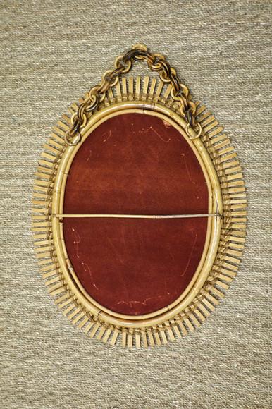 Miroir en rotin par Bonacina