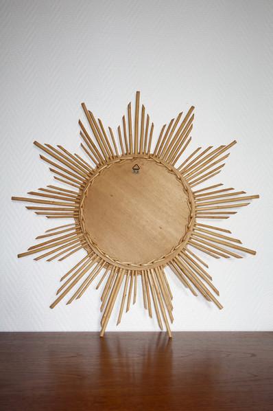Miroir soleil en rotin des années 1960
