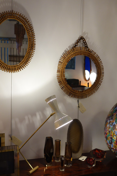 Miroirs en rotin par Bonacina, Italie 1950's