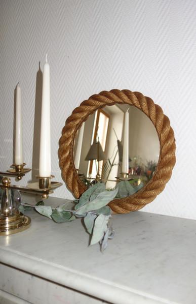 Miroir vintage en corde par Audoux Minne