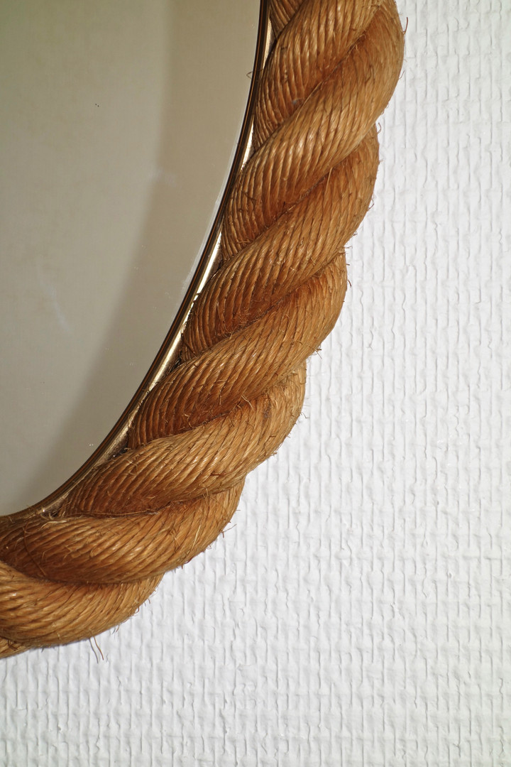 Miroir ovale en corde d' Audoux Minnet d