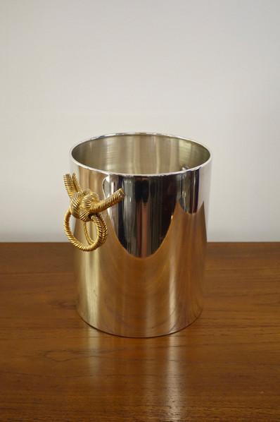 Seau à champagne vintage en métal argentSeau à champagne vintage par Lancel circa 1970