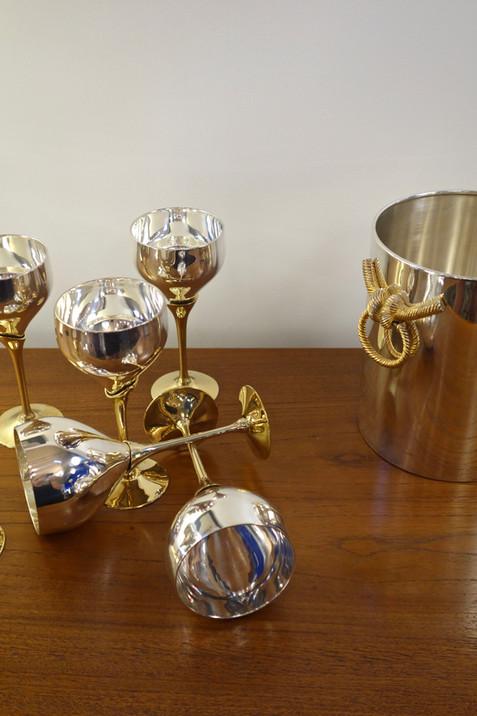 Seau à champagne vintage en métal argent