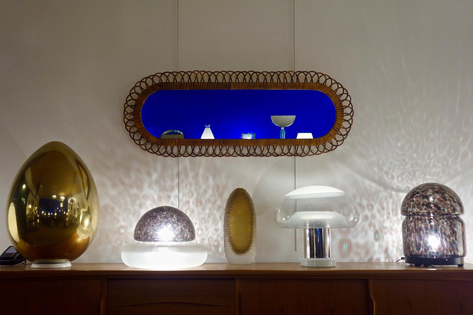 Miroir rotin de Franco Albini pour Bonac