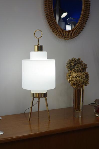 Lampe Italienne style 50's laiton et opaline