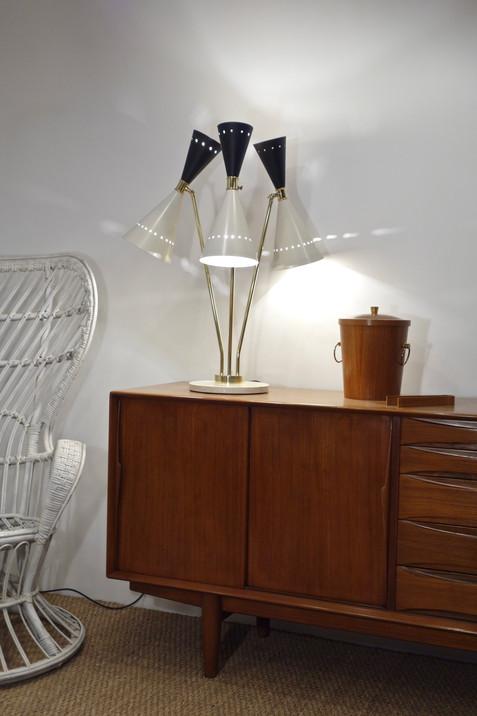 Lampe tripode noir & blanc pied marbre