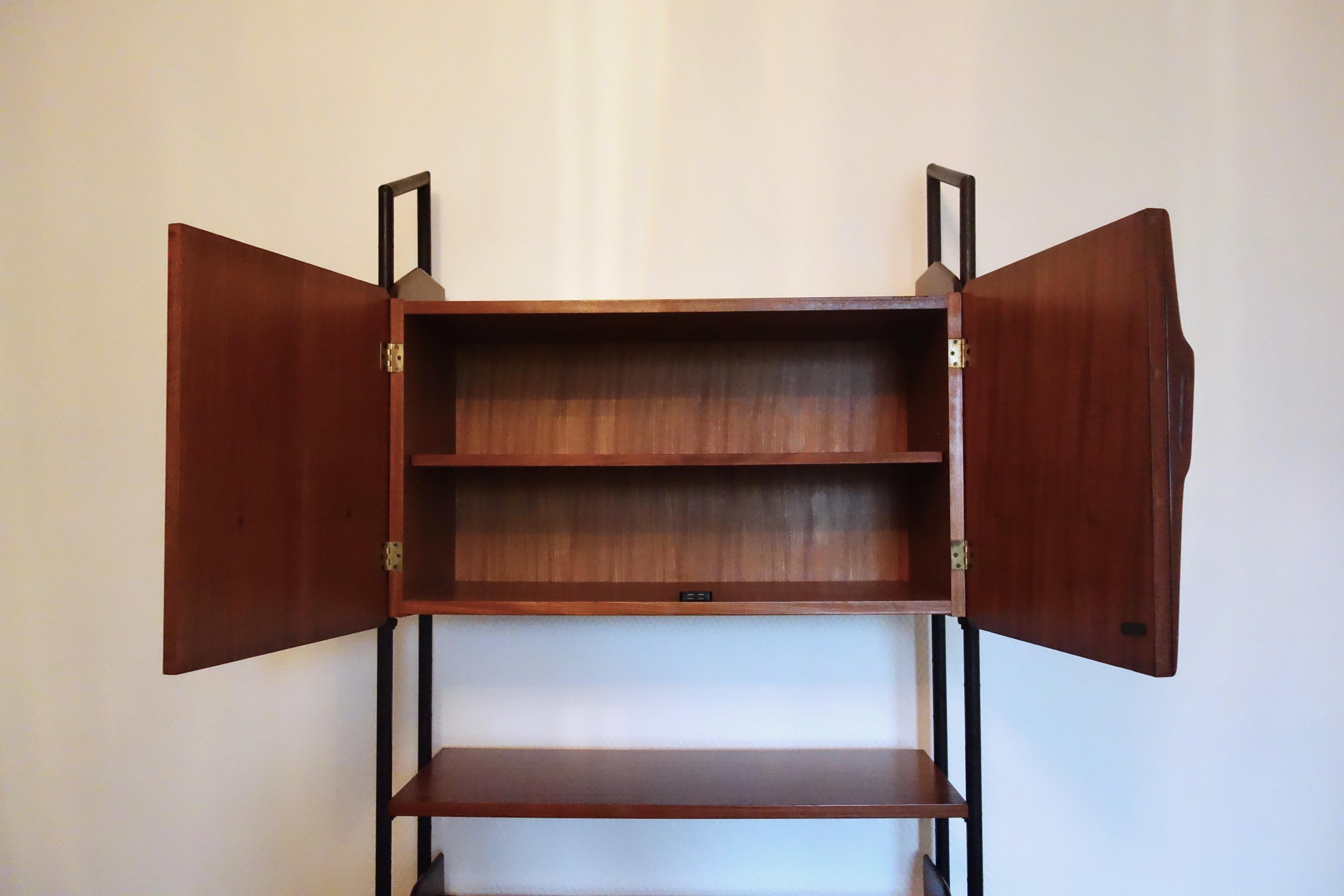 Bibliothèque Italienne teck et métal année 60