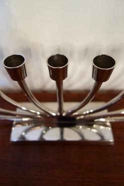 Chandelier Hanoukkia à 9 branches en métal argenté vintage des années 70