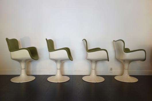 Suite de 4 fauteuils Trèfle de Christian Adam pour Airborne