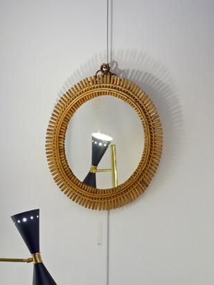 Miroir soleil italien en rotin et bambou attribué à Bonacina, Italie 1960's