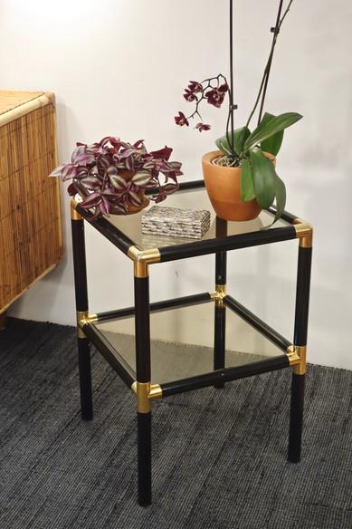 Table d'appoint vintage noir et doré des années 70's
