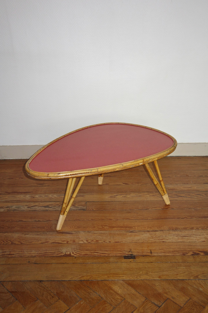 Table basse rotin forme libre rotin et f