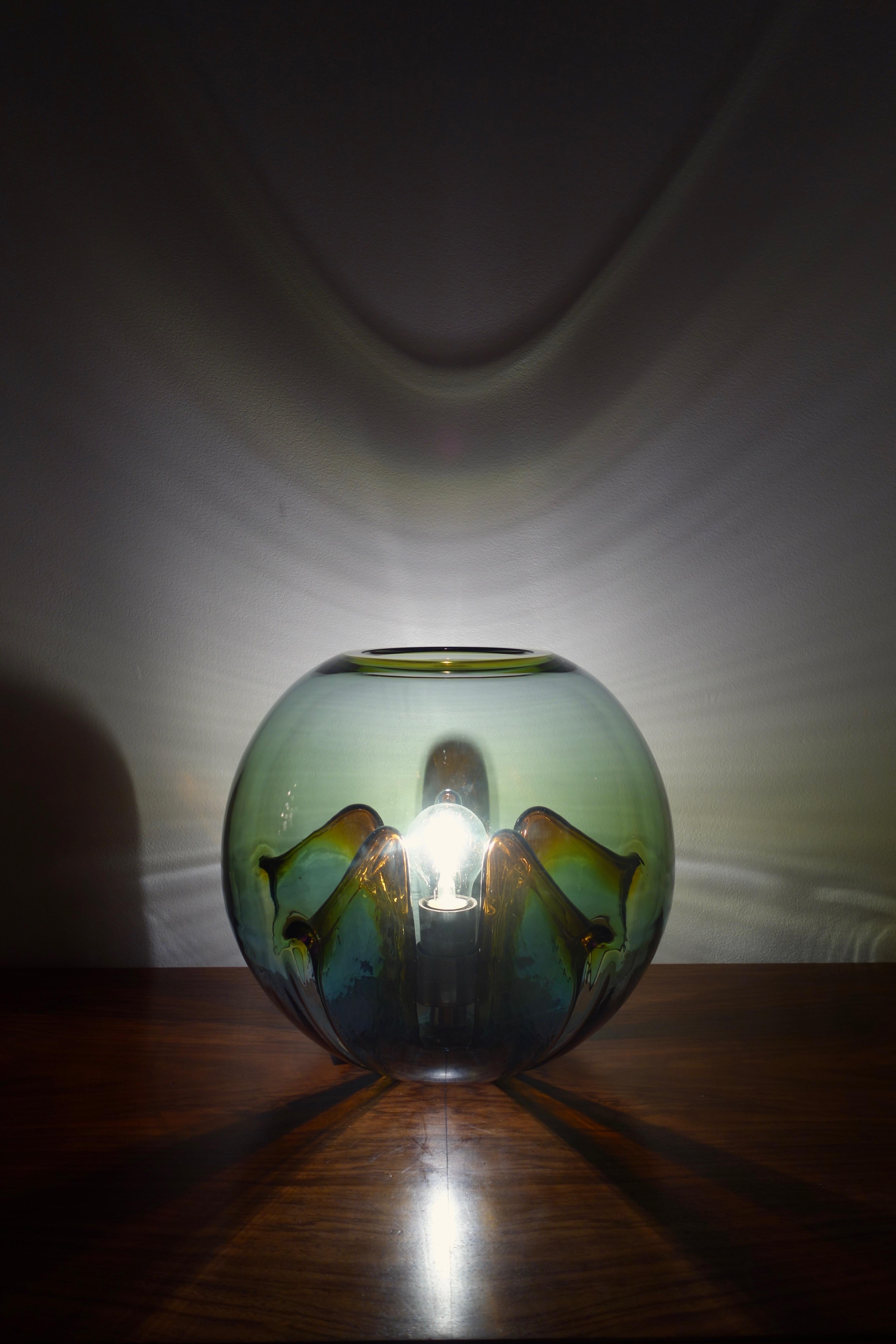Lampe Nuphar de Toni Zuccheri pour Veart année 60 Murano