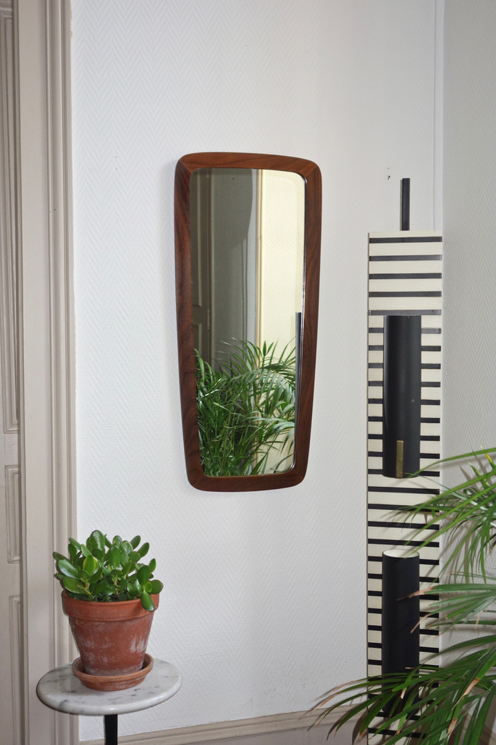 Miroir scandinave en teck années 60