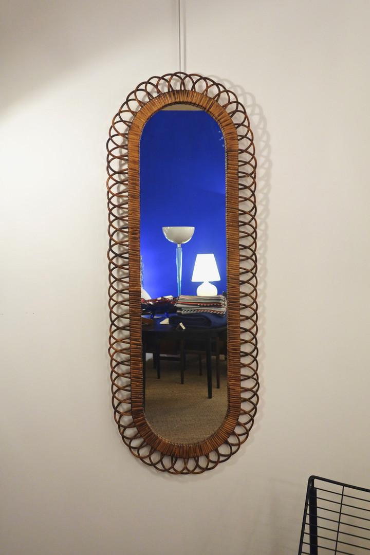Miroir rotin de Franco Albini pour Bonacina