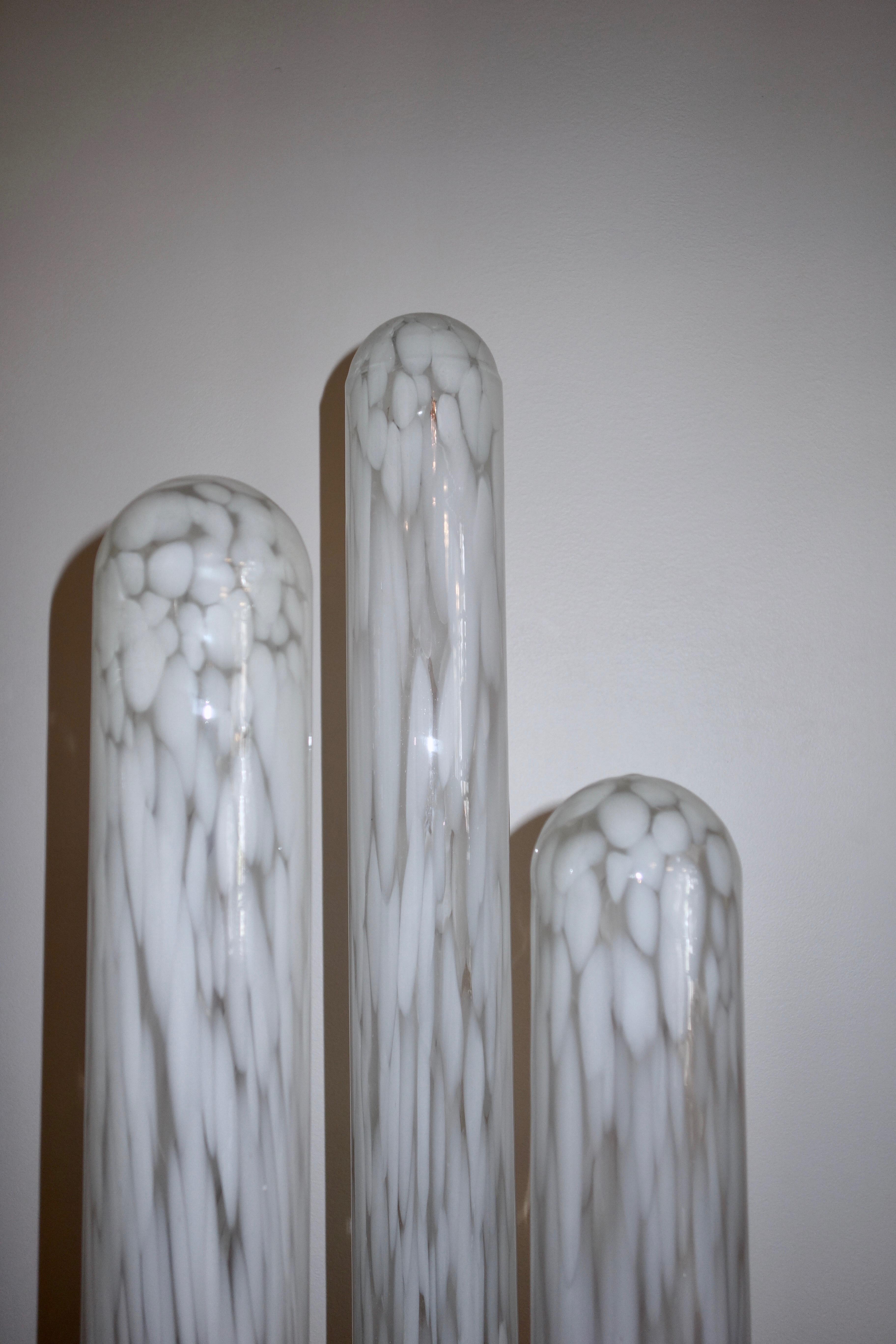 Lampadaire tubes par Mazzega en verre soufflé Murano année 70
