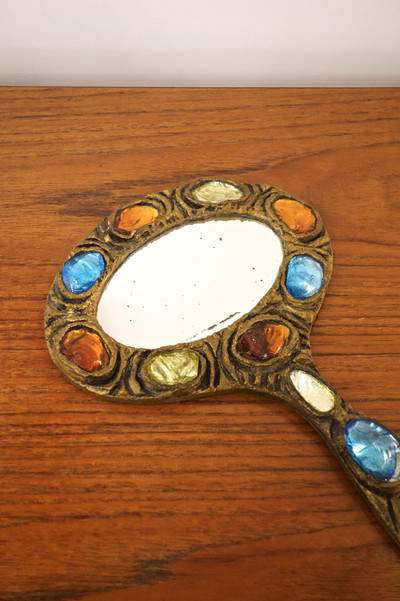 Miroir à main vintage par Creaciones Gobesso Murano
