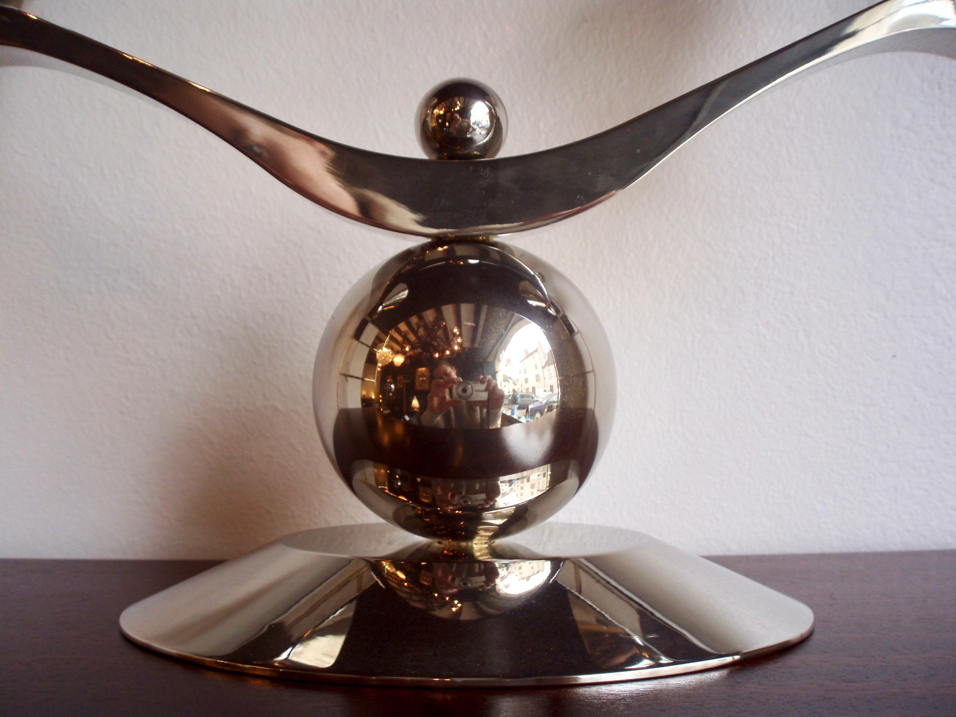 Bougeoir vintage métal argenté année 70