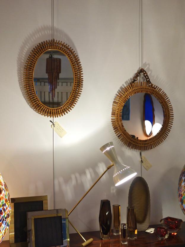 Miroirs en rotin par Bonacina