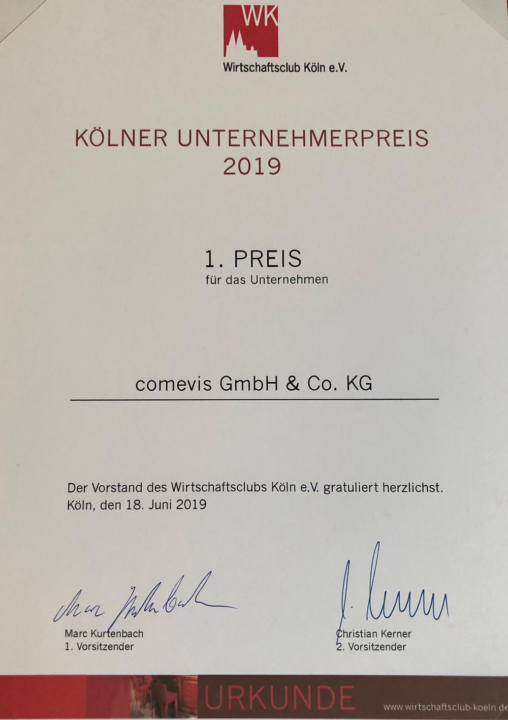comevis gewinnt den Kölner Unternehmerpreis 2019