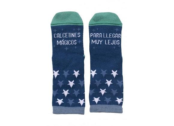 """Mini - Calcetines """"Mágicos para llegar muy lejos"""" Azul"""